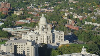 AX145_050 - 6k stock footage aerial video orbiting the Rhode Island State House, Providence, Rhode Island