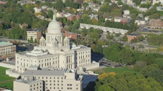 AX145_051 - 6k stock footage aerial video flying by the Rhode Island State House, Providence, Rhode Island