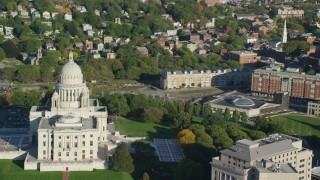 AX145_052 - 6k stock footage aerial video of Rhode Island State House, revealing Providence Station, Providence, Rhode Island