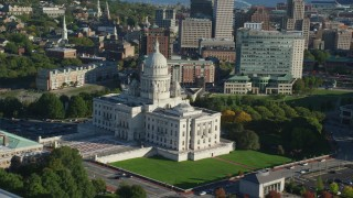 AX145_053 - 6k stock footage aerial video of Rhode Island State House, Providence Station, Downtown Providence, Rhode Island