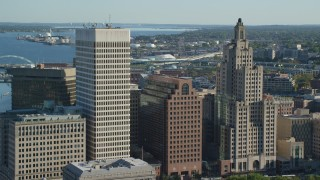 AX145_058 - 6k stock footage aerial video approaching buildings and skyscrapers in Downtown Providence, Rhode Island