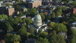 AX145_068 - 6k stock footage aerial video orbiting First Church of Christ Scientist, trees, Providence, Rhode Island