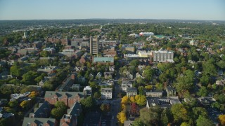 AX145_071 - 6k stock footage aerial video approaching and flying over Brown University, Providence, Rhode Island