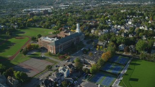 AX145_074 - 6k stock footage aerial video approaching Hope High School and tilt down, Providence, Rhode Island
