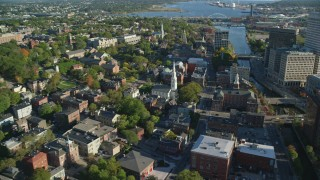 AX145_077 - 6k stock footage aerial video of First Baptist Church in America, Rhode Island Supreme Court, Providence, Rhode Island