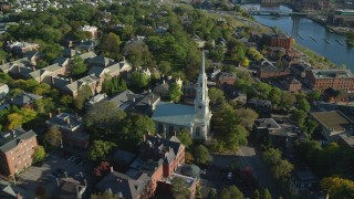 AX145_079 - 6k stock footage aerial video approaching First Unitarian Church of Providence, tilt down, Providence, Rhode Island