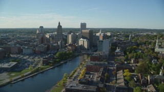 AX145_085 - 6k stock footage aerial video approaching Rhode Island State House, Downtown Providence, Rhode Island
