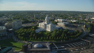 AX145_087 - 6k stock footage aerial video approaching Rhode Island State House, tilt down, Providence, Rhode Island