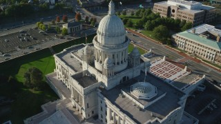 AX145_088 - 6k stock footage aerial video approaching Rhode Island State House, tilt down, Providence, Rhode Island
