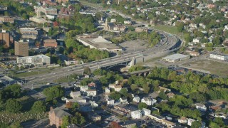 AX145_093 - 6k stock footage aerial video approaching Seekonk River, tilt down over Interstate 95, Pawtucket, Rhode Island