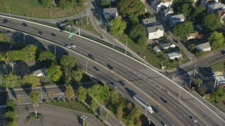 AX145_094 - 6k stock footage aerial video of a bird's eye view tracking cars on Interstate 95, Pawtucket, Rhode Island