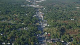 AX145_096 - 6k stock footage aerial video flying over small town, Washington Street, autumn, Attleboro, Massachusetts