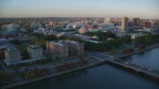 AX146_052 - 6k stock footage aerial video of Maclaurin Building, Massachusetts Institute of Technology, Massachusetts, sunset