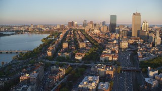 AX146_061 - 6k stock footage aerial video flying by Back Bay Victorian brownstones, Downtown Boston, Massachusetts