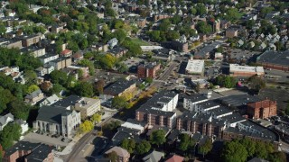 AX147_003 - 6k stock footage aerial video flying over a city street and apartment buildings, Dorchester, Massachusetts
