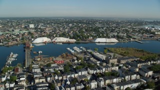 AX147_010 - 6k stock footage aerial video flying over residential area toward Chelsea River, Chelsea, Massachusetts