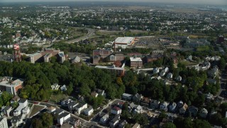 AX147_012 - 6k stock footage aerial video flying over residential neighborhood toward Quigley Memorial Hospital, Chelsea, Massachusetts