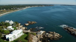 AX147_021 - 6k stock footage aerial video flying over a coastal community on Massachusetts Bay and Atlantic Ocean, Swampscott, Massachusetts