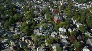 AX147_032 - 6k stock footage aerial video flying over coastal community and Abbott Hall, Marblehead, Massachusetts
