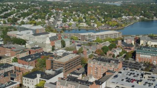 AX147_042 - 6k stock footage aerial video flying by the Tabernacle Church in autumn, Salem, Massachusetts