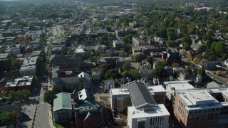 AX147_044 - 6k stock footage aerial video passing by churches and office buildings, Salem, Massachusetts