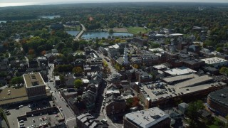 AX147_176 - 6k stock footage aerial video of North Church of Portsmouth in autumn, Portsmouth, New Hampshire