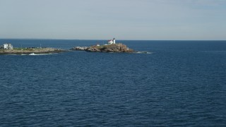 AX147_235 - 6k stock footage aerial video approaching Cape Neddick Light, York, Maine
