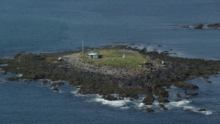 AX147_272 - 6k stock footage aerial video approaching Ram Island, rocky shore, Saco, Maine