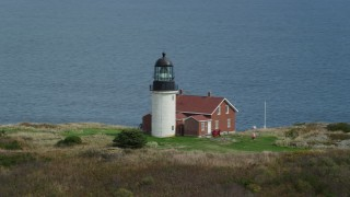 AX147_392 - 6k stock footage aerial video orbiting Seguin Light on Seguin Island, autumn, Phippsburg, Maine