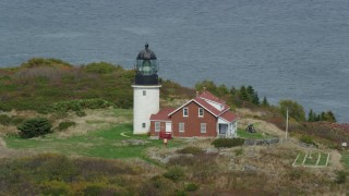 AX147_393 - 6k stock footage aerial video orbiting Seguin Light on Seguin Island, autumn, Phippsburg, Maine