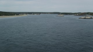 AX147_396 - 6k stock footage aerial video flying over Kennebec River, approach North Sugarloaf Island, Phippsburg, Maine