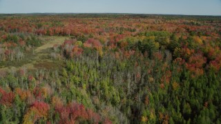 AX148_044 - 6k stock footage aerial video flying over colorful forest landscape, small river, autumn, Cushing, Maine