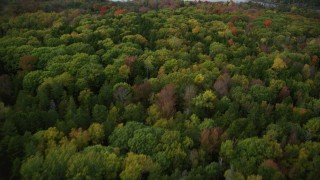 AX148_128 - 6k stock footage aerial video flying by rural homes, colorful trees, Islesboro Island, autumn, Islesboro, Maine