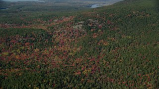 AX148_158 - 6k stock footage aerial video flying over a colorful forest in autumn, Mount Desert Island, Tremont, Maine