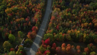 AX148_232 - 6K stock footage aerial video of a bird's eye of road among forest with fall foliage, Bar Harbor, Maine