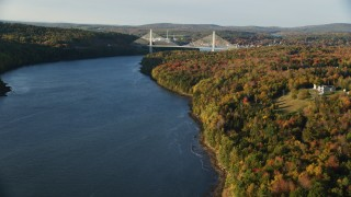 AX149_093 - 6K stock footage aerial video approaching the Penobscot Narrows Bridge, autumn, Stockton Springs, Maine