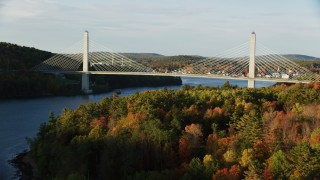 AX149_097 - 6K stock footage aerial video approaching the Penobscot Narrows Bridge, autumn, Stockton Springs, Maine