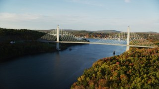 AX149_098 - 6K stock footage aerial video flying over Penobscot river, approaching Penobscot Narrows Bridge, autumn, Maine