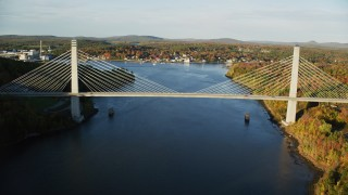 AX149_099 - 6K stock footage aerial video flying over Penobscot River, approaching Penobscot Narrows Bridge, autumn, Maine