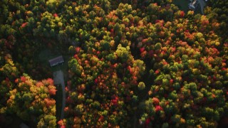 AX149_149 - 6K stock footage aerial video of a bird's eye view over road and rural homes, colorful forest, autumn, Searsport, Maine, sunset