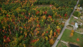 AX150_031 - 6K stock footage aerial video of a bird's eye view over forest, revealing rural homes, autumn, Leeds, Maine
