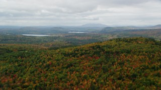 AX150_110 - 6K stock footage aerial video flying by dense, colorful forest, overcast, autumn, Norway, Maine