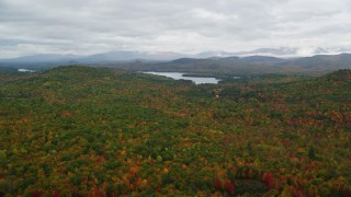 AX150_135 - 6K stock footage aerial video flying over colorful forest, approach Cezar Lake, autumn, overcast, Lovell, Maine