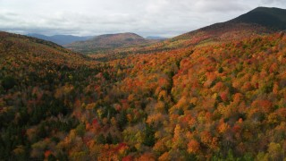 AX150_158 - 6K stock footage aerial video flying over forest in autumn, approach White Mountains, New Hampshire