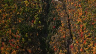 AX150_236 - 6K stock footage aerial video of a bird's eye view over colorful forest, river, autumn, Bethlehem, New Hampshire