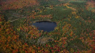 AX150_319 - 6K stock footage aerial video flying by dense, colorful forest surrounding a pond, autumn, Topsham, Vermont