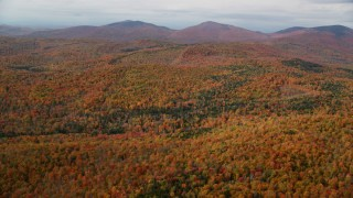 AX150_320 - 6K stock footage aerial video flying over colorful forest, approaching distant peaks, autumn, Topsham, Vermont