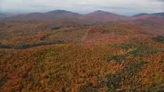 AX150_321 - 6K stock footage aerial video flying over forest, approach distant peaks, autumn, overcast, Topsham, Vermont