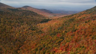 AX150_325 - 6K stock footage aerial video flying over colorful forest through mountains, autumn, overcast, Orange, Vermont