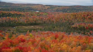 AX150_334 - 6K stock footage aerial video flying over colorful trees, dense forest, autumn, Orange, Vermont